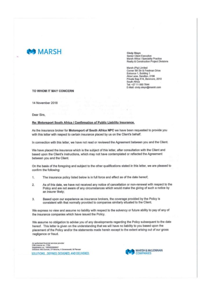 2019-Public Liability Insurance Confirmation Letter